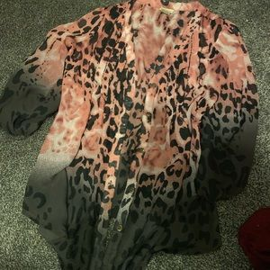 Pink and black cheetah sheen button up
